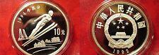 1992 China Large Silver Proof  10 Yuan Ski Jump