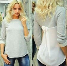 Fashion Women Lady Loose Chiffon Cotton Tops Long Sleeve Shirt Casual Blouse M