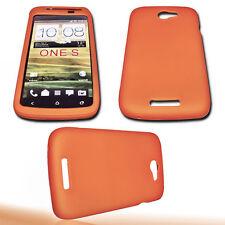 Silikon TPU Handy Hülle Cover Case in Orange + Displayschutzfolie für HTC One S