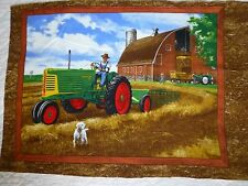 TRACTOR Fabric Cotton Craft Quilting Panel  - OLIVER Tractors HAY MAKING - BOYS