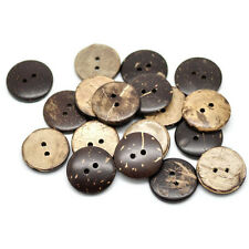 100Pc Round Pattern 2 Holes Wood Buttons Sewing Scrapbooking Brown Coconut 15mm