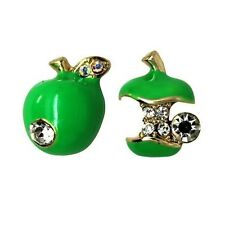 Quirky Novelty Green Apple Earrings with Rhinestone Crystal
