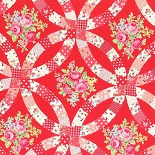 RED FLOWER SUGAR FALL ROSES FLORAL #3549 BTY COTTON QUILT LECIEN JAPAN FABRIC