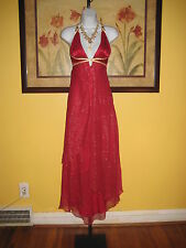 NWT  bebe Red Silk Maxi Dress Size S