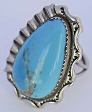 Sterling Silver Southwest Turquoise Rustic Stamped Vintage Large Chunky Ring