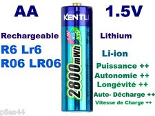 1 Pile Rechargeable 1.5V AA Lithium ion Li-ion 2800Mwh Kentli PH5 R6 R06 LR06