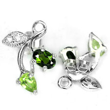 WOW! Natural CHROME DIOPSIDE, PERIDOT & CZ STERLING .925 SILVER FLOWER EARRINGS