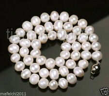 """Natural 8-9MM WHITE CULTURED FRESHWATER PEARL NECKLACE 18"""""""