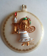 Vintage Corel Angel with Candle Christmas Pin