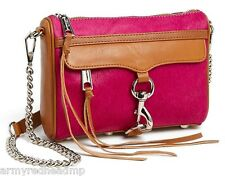 NWT Rebecca Minkoff Hot Pink Hair Calf Mini MAC Almond Leather Crossbody Clutch