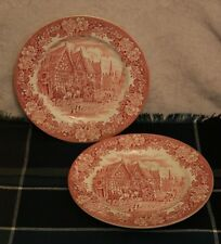 2 English Ironstone Dickens Series - Red/Pink & White 245mm Plates