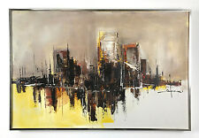 36x24 Vintage Signed Original Abstract Cityscape Oil Painting Mid Century Modern
