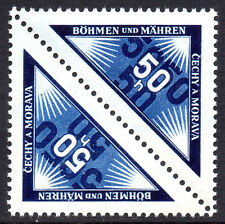 GERMANY Nazi Occupations BOHEMIA MORAVIA 1939 Personal Delivery Tete-Beche MNH