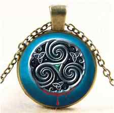 Vintage Celtic Metal Symbols Cabochon Glass Bronze Chain Pendant Necklace