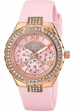 BRAND NEW GUESS W0300L3 SPARKLING GLITZ BEZEL PINK SILICONE CHRONO WOMEN'S WATCH