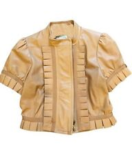 RED VALENTINO Brown Lamb Leather Ruffled Short Sleeve Crew Neck Jacket Sz IT 40