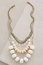 Anthropologie Layered Hemisphere Necklace, Neutral Colors & Gold Statement Piece