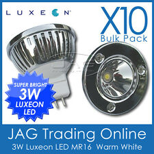 10 x 240V 3W LUXEON LED MR16 COOL WHITE DOWN LIGHT/CEILING DOWNLIGHT GLOBES