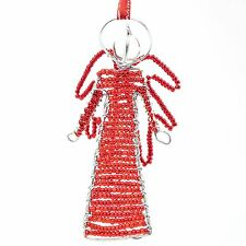 Red African Handmade Maasai Bead Wire Christmas Angle Ornament