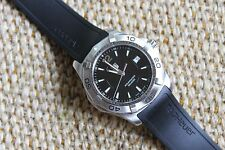 Tag Heuer NEW NWT BLACK Aquaracer Watch Mens WAF1110.FT8009 Rubber $1900 MINT