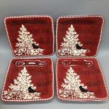 x4 222 Fifth Northwood Cottage RED Salad Plates Cardinal Pine Christmas Winter