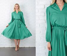 Vintage 70s Green Mod Dress Accordion Pleated Full A-Line Small Medium S M