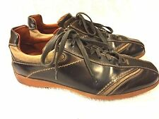 Canali mens brown leather shoes sneakers size 42.5 good shape Italy