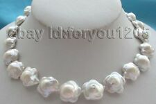 Natural 16mm White Reborn Keshi Flower Pearl Necklace!