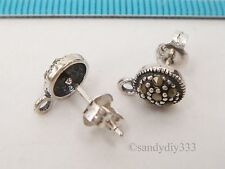 2x OXIDIZED STERLING SILVER MARCASITE STONE ROUND STUD LOOP POST EARRINGS #2545