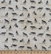 Cotton Marblehead North Woods Wolf Wildlife Cotton Fabric Print by Yard D564.16