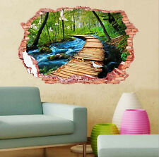 3D window forest landscape Wall breaching wall sticker living room Decal Decor