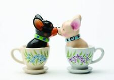 Tea Cup Chihuahuas Pups Puppy Love Magnetic Kissing Salt & Pepper Shakers Gift