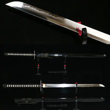handmade t10 clay tempered japanese samurai real hamon ninja sword razor sharp