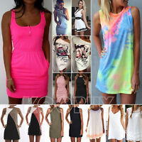 Sexy Women Summer Casual Sleeveless Evening Party Holiday Dress Beach Sundress