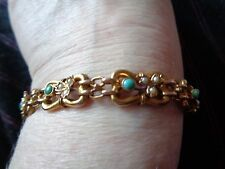 VICTORIAN 9 CARAT YELLOW GOLD TURQUOISE & SPLIT PEARL LINK BRACELET WITH SAFETY