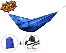 Camping Hammock Single Portable Outdoor Swing w/ Tree Strap - Blue - ²CATJC