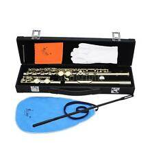 Western Concert Flute Cupronickel Plated Silver 16 Holes C Key Padded Case L2P8