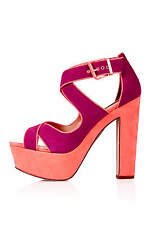 New TOPSHOP SURE cross over platform shoes UK 6 in Coral