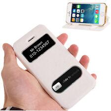 Klapphülle mit Call ID und Slide Fenster für Apple iPhone SE / 5 / 5S in Weiss