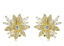 NWT CZ by Kenneth Jay Floral Spray Large Stud DAZZLING Red Carpet Earrings