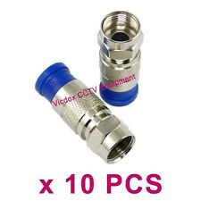 10pcs Compression Fitting F Connector Adapter for RG6 Coaxial Cable TV Satellite