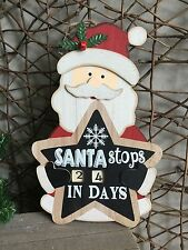 Gisela Graham Christmas wooden 'Santa stops in' advent calendar countdown 34cm