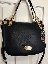 NWT $358 MICHEAL KORS BROOKE MEDIUM BLACK LEATHER SHOULDER CROSSBODY BAG RARE