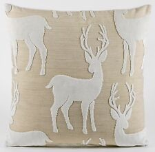 """New Casamance Las Nieves Fabric Cushion Covers 18"""" Luxury Velvet Stag Beige"""