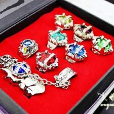 Katekyo Hitman Reborn Sawada Tsunayoshi Cosplay Vongola crystal Ring Set 8pc HOT