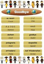 GOODBYE- LAMINATED POSTER - MULTICULTURAL-CLASSROOM OR CHILDMINDER DISPLAY EYFS