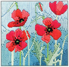 Derwentwater Designs Wild Poppies Silken Long Stitch Kit