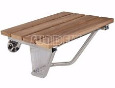 Folding Shower Seat | Wall Mounted Solid Wood TEAK | Bathroom Mobility Aid NEW
