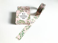 Pink / Green Leaves Boxed Washi Tape 7m