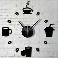 Modern DIY Home Decor Large Coffee Cup Kitchen Wall Clocks Watch Decals